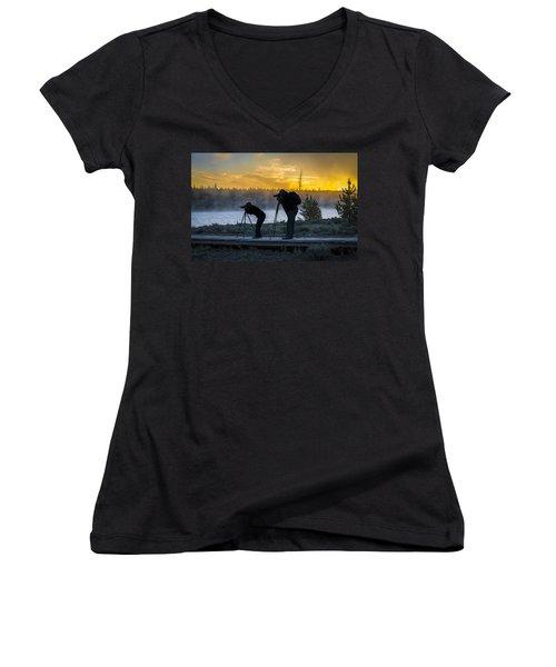 Early Birds Yellowstone National Park Women's V-Neck T-Shirt