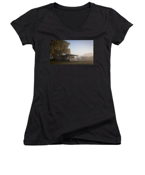 Women's V-Neck T-Shirt (Junior Cut) featuring the photograph Early Morning On The Farm by Lynn Palmer