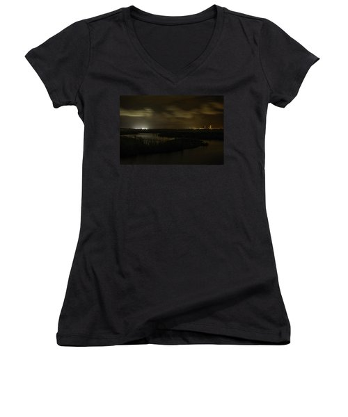 Early Morning Over Lake Shelby Women's V-Neck T-Shirt (Junior Cut) by Michael Thomas