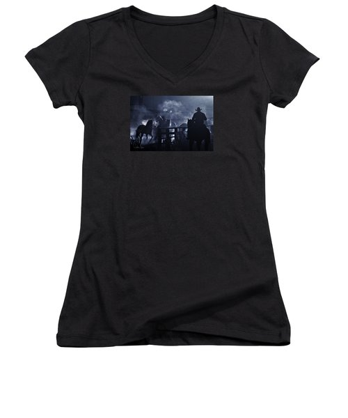 Early Morning Smoke Women's V-Neck T-Shirt (Junior Cut) by Joan Davis