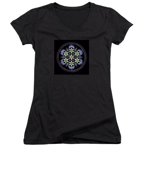 Earth's Forgiveness Women's V-Neck T-Shirt (Junior Cut) by Keiko Katsuta