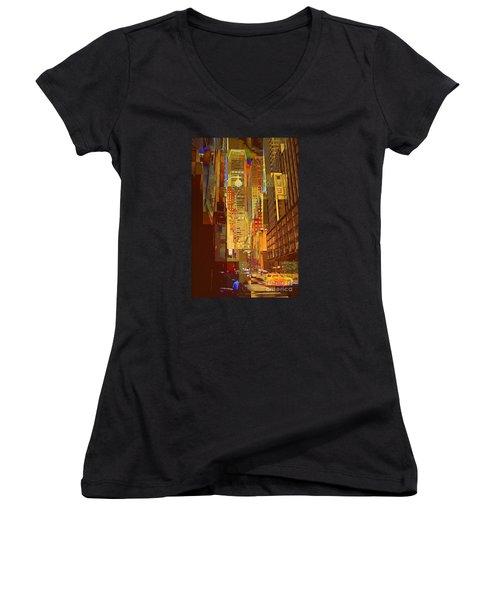 East 45th Street - New York City Women's V-Neck T-Shirt (Junior Cut) by Miriam Danar