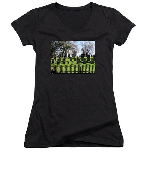Women's V-Neck T-Shirt (Junior Cut) featuring the photograph East Hampton  by Ed Weidman