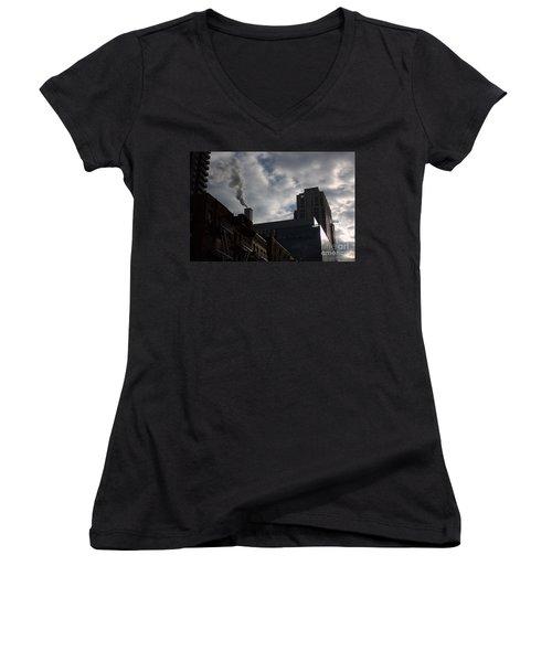 East Side Smoke Women's V-Neck T-Shirt (Junior Cut) by Steven Macanka