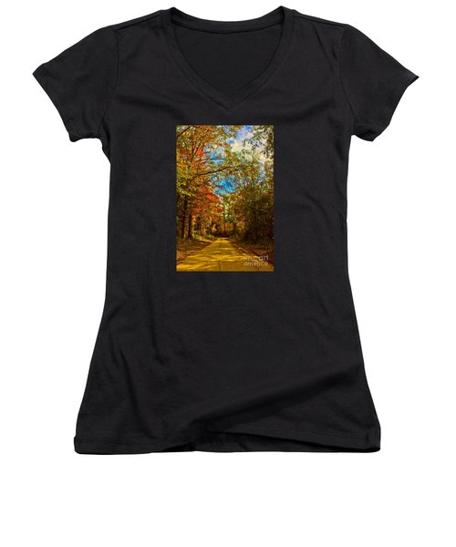 East Texas Back Roads Hdr Women's V-Neck (Athletic Fit)