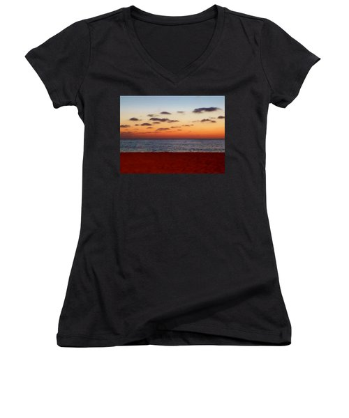 Women's V-Neck T-Shirt (Junior Cut) featuring the photograph Easter Sunset by Amar Sheow