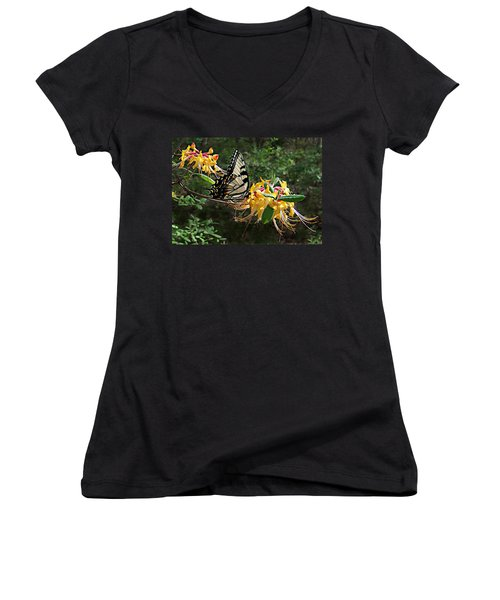 Eastern Tiger Swallowtail Butterfly Women's V-Neck (Athletic Fit)