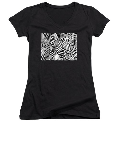 Ebony And Ivory Women's V-Neck T-Shirt (Junior Cut) by Susie Weber