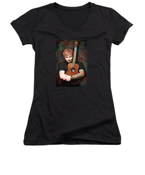 Ed Sheeran And Song Titles Women's V-Neck T-Shirt (Junior Cut) by Tony Rubino