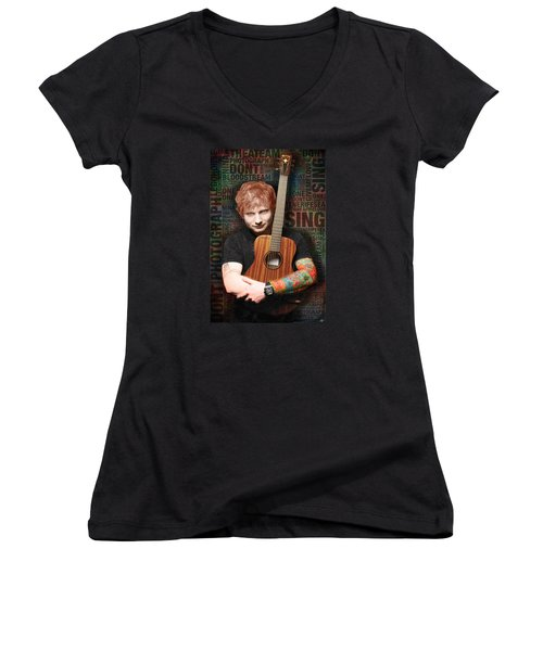 Ed Sheeran And Song Titles Women's V-Neck (Athletic Fit)