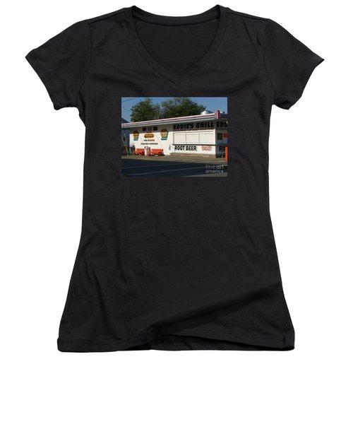 Eddie's Grill Women's V-Neck T-Shirt (Junior Cut) by Michael Krek