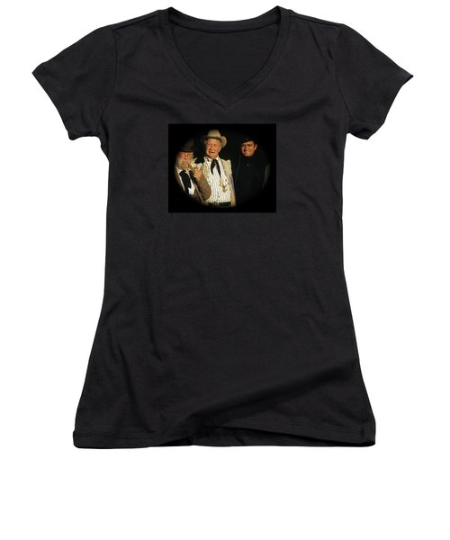 Women's V-Neck T-Shirt (Junior Cut) featuring the photograph Edgar Buchanan Chills Wills  Johnny Cash Porch Old Tucson Arizona 1971-2008 by David Lee Guss