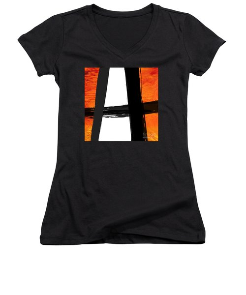 Women's V-Neck T-Shirt (Junior Cut) featuring the painting Edge II by Paul Davenport