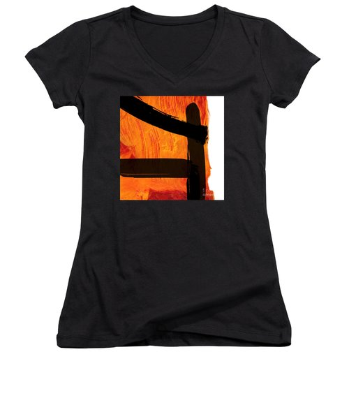 Women's V-Neck T-Shirt (Junior Cut) featuring the painting Edge IIi by Paul Davenport