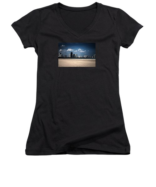 Women's V-Neck T-Shirt (Junior Cut) featuring the photograph Edgewater by Milena Ilieva