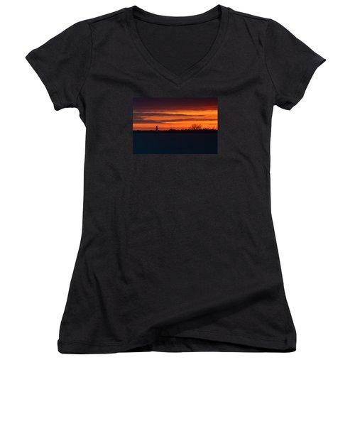 Egmont Key Lighthouse Sunset Women's V-Neck T-Shirt (Junior Cut) by Paul Rebmann