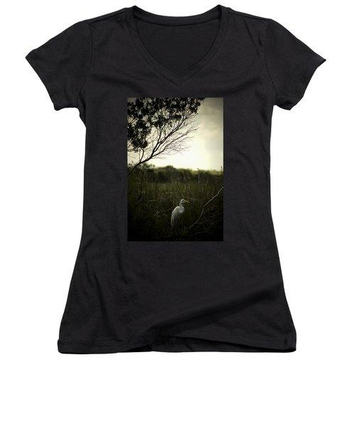 Egret At Sunset Women's V-Neck T-Shirt