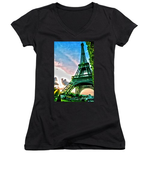 Eiffel Tower 8 Women's V-Neck T-Shirt (Junior Cut) by Micah May