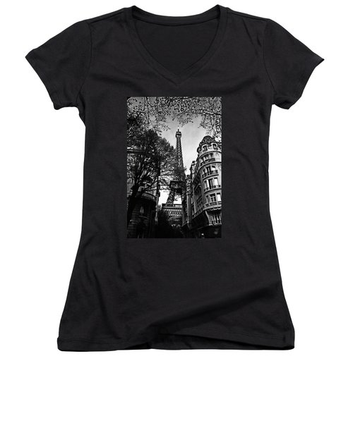 Eiffel Tower Black And White Women's V-Neck (Athletic Fit)