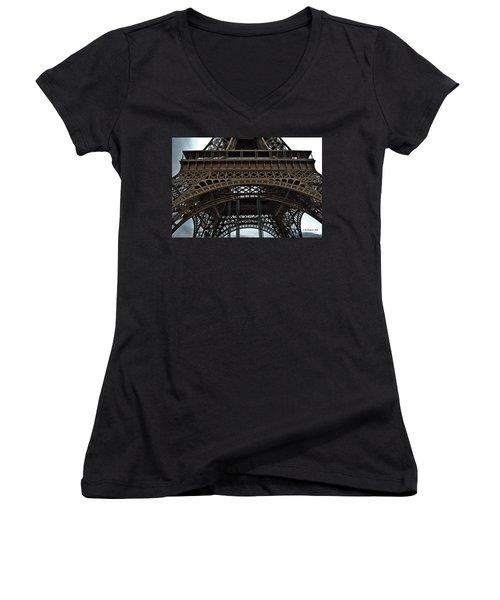 Women's V-Neck T-Shirt (Junior Cut) featuring the photograph Eiffel Tower - The Forgotten Names by Allen Sheffield