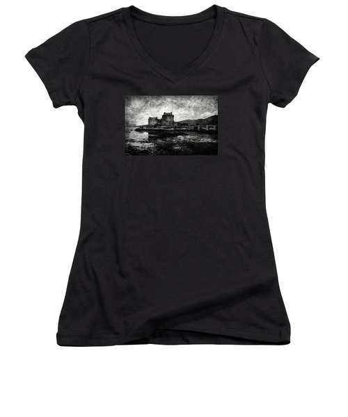 Eilean Donan Castle In Scotland Bw Women's V-Neck T-Shirt (Junior Cut) by RicardMN Photography