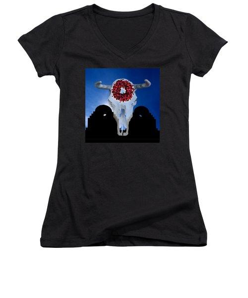 El Dia Los Muertos In Santa Fe Women's V-Neck T-Shirt