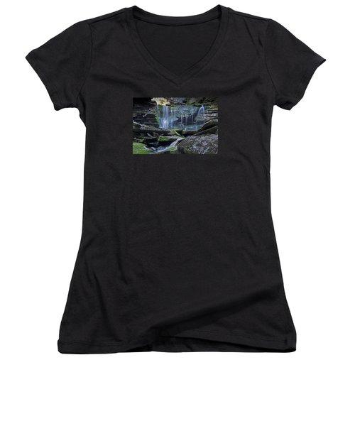 Elakala Falls Number 1 Women's V-Neck T-Shirt (Junior Cut) by Shelly Gunderson