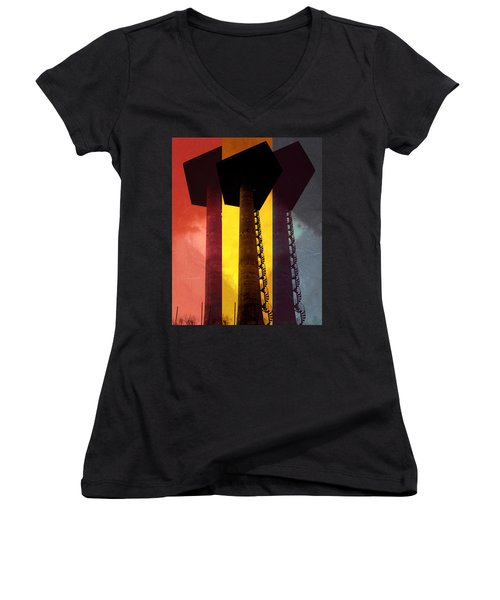Women's V-Neck T-Shirt (Junior Cut) featuring the photograph Elastic Concrete Part Three by Sir Josef - Social Critic - ART