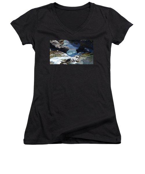 Elbow Falls Women's V-Neck T-Shirt (Junior Cut) by Cheryl Miller