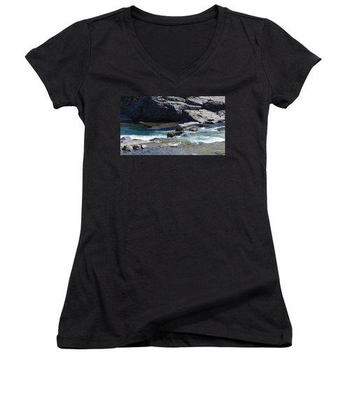 Elbow Falls Landscape Women's V-Neck T-Shirt (Junior Cut) by Cheryl Miller