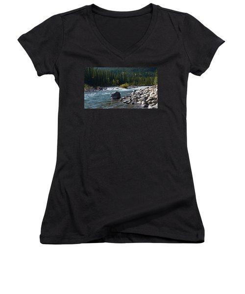 Elbow River Rock Art Women's V-Neck T-Shirt (Junior Cut) by Cheryl Miller