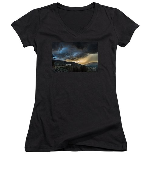 Electric Blue Women's V-Neck (Athletic Fit)