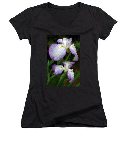 Women's V-Neck T-Shirt (Junior Cut) featuring the photograph Elegant Purple Iris by Marie Hicks