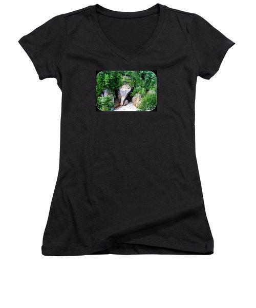 Elephant Head Rock Women's V-Neck T-Shirt (Junior Cut) by Patti Whitten