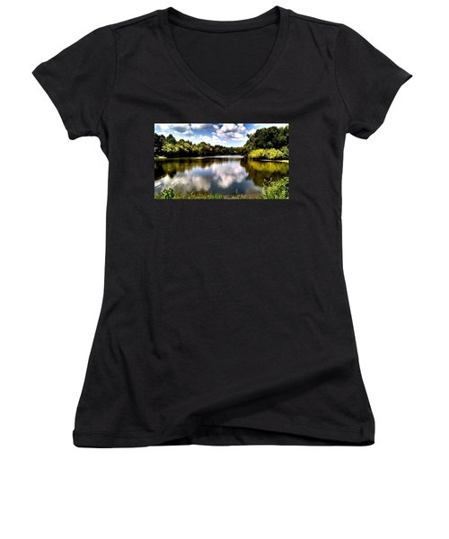 Women's V-Neck T-Shirt (Junior Cut) featuring the photograph Elk Creek Tennessee by Chris Tarpening