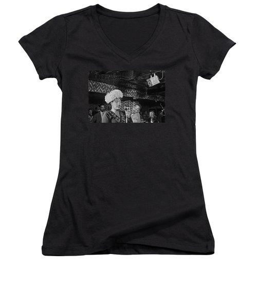 Ella Fitzgerald And Dizzy Gillespie William Gottleib Photo Unknown Location September 1947-2014. Women's V-Neck T-Shirt (Junior Cut) by David Lee Guss