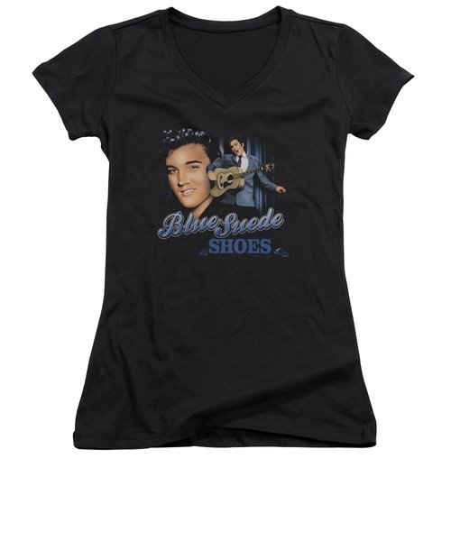 Elvis - Blue Suede Shoes Women's V-Neck T-Shirt (Junior Cut)