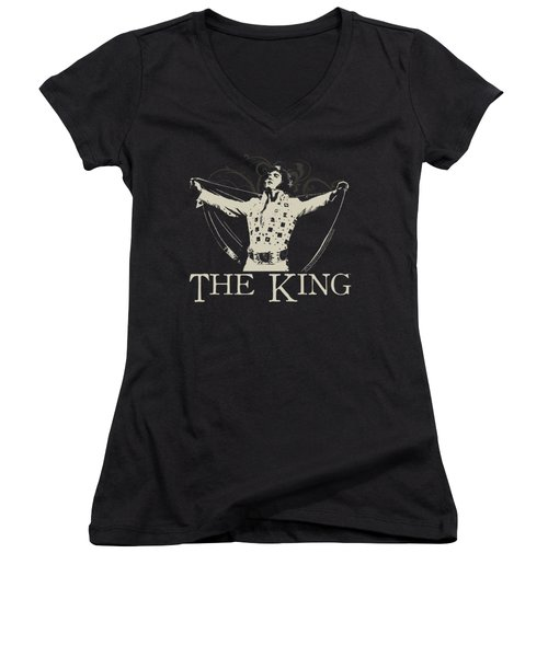 Elvis - Ornate King Women's V-Neck T-Shirt (Junior Cut)