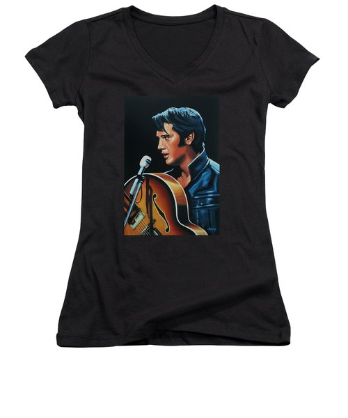 Elvis Presley 3 Painting Women's V-Neck T-Shirt (Junior Cut) by Paul Meijering