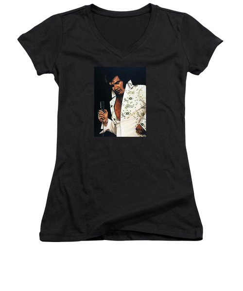 Elvis Presley Painting Women's V-Neck T-Shirt (Junior Cut) by Paul Meijering