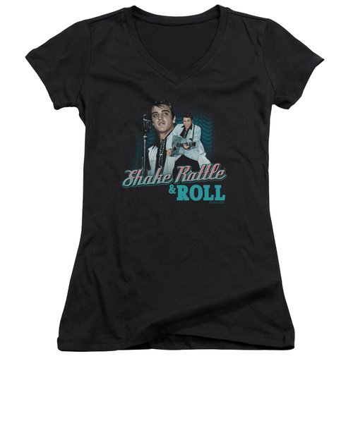 Elvis - Shake Rattle And Roll Women's V-Neck T-Shirt (Junior Cut) by Brand A