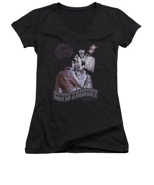 Elvis - Violet Vegas Women's V-Neck T-Shirt (Junior Cut)