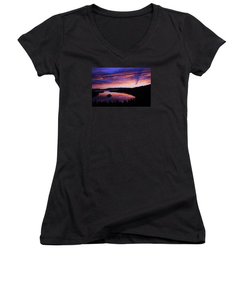 Women's V-Neck T-Shirt (Junior Cut) featuring the photograph Emerald Bay Awakens by Sean Sarsfield