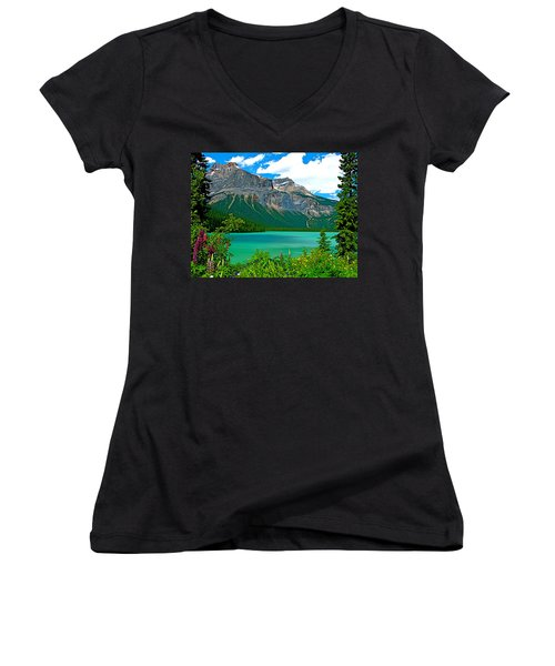 Emerald Lake In Yoho Np-bc Women's V-Neck T-Shirt (Junior Cut) by Ruth Hager