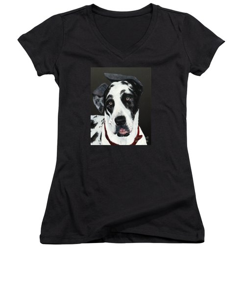 Women's V-Neck T-Shirt (Junior Cut) featuring the painting Emma by Mary Lynne Powers