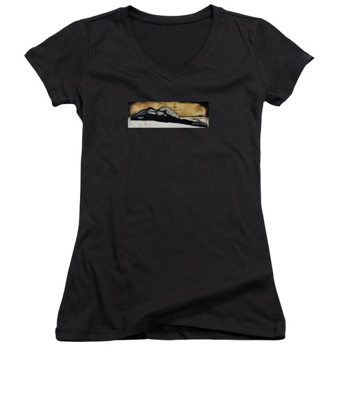 Women's V-Neck T-Shirt (Junior Cut) featuring the drawing Emotive 2 by Michael Cross