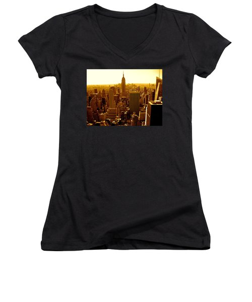 Manhattan And Empire State Building Women's V-Neck