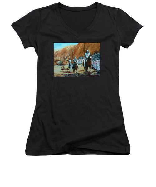En Route To Battle Women's V-Neck T-Shirt