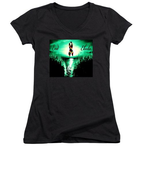 End Ebola Women's V-Neck T-Shirt (Junior Cut) by Eddie Eastwood