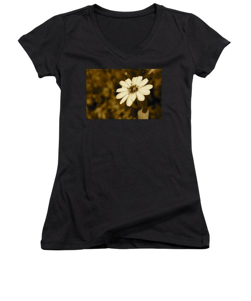 Women's V-Neck T-Shirt (Junior Cut) featuring the photograph End Of Season by Photographic Arts And Design Studio